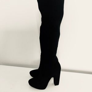 Thigh High black micro suede stretch boots size 7